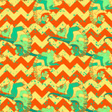 Hand drawn exotic pattern with chameleons in Stock Images