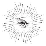 Hand-drawn Eye of Providence masonic symbol, all seeing eye, conspiracy theory, alchemy, religion, spirituality, print or tattoo d. Esign vector illustration vector illustration