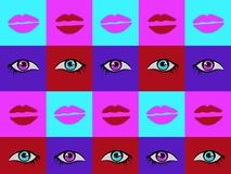 Abstract psychedelic bright colorful pattern with hand drawn eyes and lips illustrations set stock illustration