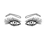 Hand drawn eyes with long eyelashes. Women, female eye with an eyebrow. Stock Images