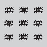 Hand drawn eyes set vector illustration black and white. Royalty Free Stock Photos