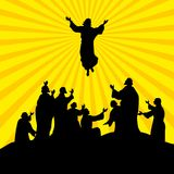 Hand-drawn face of the Lord Jesus Christ. The Ascension of the Lord Jesus Christ. The apostles look at Jesus royalty free illustration