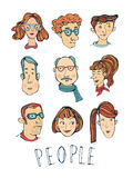 Hand drawn faces collection Royalty Free Stock Photos