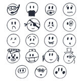 Hand drawn faces with different emotions. Set of cute smiley fac Stock Image