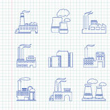 Hand drawn factory icons Stock Photos