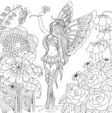 Hand drawn fairy flying in flower land for coloring book for adult Stock Images