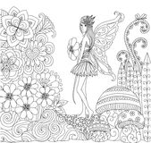 Hand drawn fairy walking in the flowers land for coloring book for adult Royalty Free Stock Image