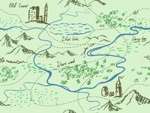 Aged fantasy vintage seamless map with mountains, buildings, trees, hills, river. Hand drawn fairytale historic treasure map. Seamless background Royalty Free Stock Photos