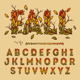Hand drawn fall alphabet made with leaves. Vector illustration Stock Photography