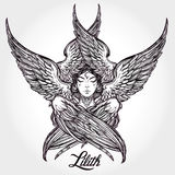 Hand drawn fallen angel Lilith partrait. Royalty Free Stock Photography