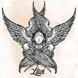 Hand drawn fallen angel Lilith partrait. Stock Images