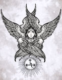 Hand drawn fallen angel Lilith partrait. Stock Photo
