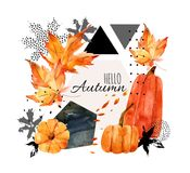 Hand drawn falling leaf, doodle, water color, scribble textures for fall design. Stock Photo