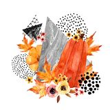 Hand drawn falling leaf, doodle, water color, scribble textures for fall design. Royalty Free Stock Photography