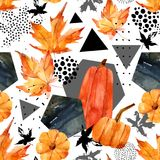 Hand drawn falling leaf, doodle, water color, scribble textures for fall design. Stock Photography