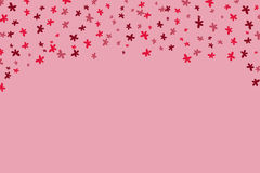 Hand drawn falling red flowers pattern. On pink background with copy space Royalty Free Stock Photos