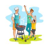 Vector sketch family at barbeque party. Hand drawn family at barbeque party. Man, father chief cooker standing near bbq grill preparing meat steak, mother young stock illustration