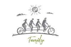 Hand drawn family of four members riding bicycle Royalty Free Stock Image