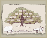 Hand-drawn family tree with decorative elements. Stock Photos