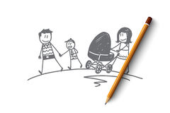 Hand drawn family walking with stroller Royalty Free Stock Image