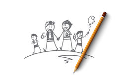 Hand drawn family walking together with ice cream Stock Photography