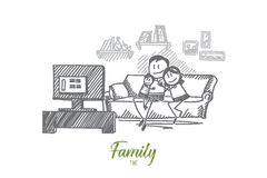 Hand drawn family watching TV on sofa together Stock Images