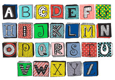 Hand drawn fancy alphabet on blocks vector illustration