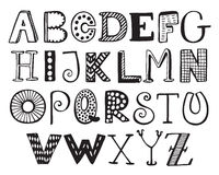 Hand drawn fancy alphabet, funny doodle letters Stock Photography