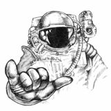 Hand drawn fantastic astronaut or cosmonaut in helmet and spacesuit with hand showing bulging thumb and little finger gesture stock image