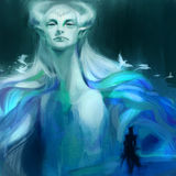 Hand drawn fantasy abstract elf in blue colors Royalty Free Stock Photo