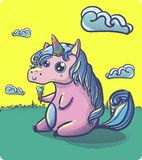 Hand drawn fantasy cartoon unicorn, cute doodle. Royalty Free Stock Photos