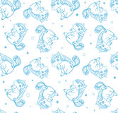 Hand drawn fantasy cartoon unicorn, seamless doodle. Stock Image