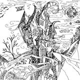 Hand drawn fantasy castle. Black illustration on white background. Witch house Royalty Free Stock Photo