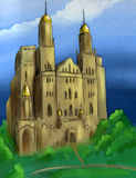 Hand drawn fantasy castle. Hand drawn pencil sketch of a fantasy castle with golden domes and wild garden Royalty Free Stock Photography