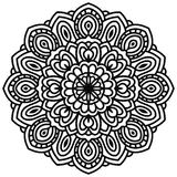 Hand drawn fantasy linear head of flower, top view. Royalty Free Stock Photos