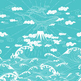 Hand drawn fantasy seamless doodle Japanese style. Whale floating in the sky above the mountains to the ocean Stock Images