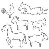 Hand drawn farm animals Stock Images