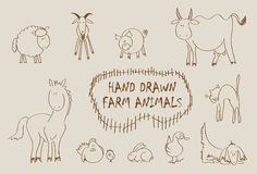 Hand drawn farm animals set. Including sheep, goat, pig, cow, horse, hen, chicken, rabbit, goose, cat and dog Stock Photography