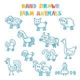 Hand drawn farm animals royalty free illustration