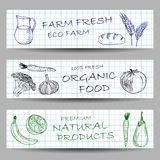 Hand drawn farm banners Stock Images