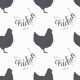 Hand drawn farm bird hipster silhouettes seamless Royalty Free Stock Photography