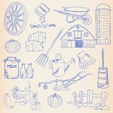 Hand Drawn Farm Icon Set Stock Photography