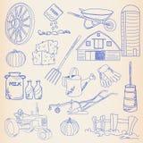 Hand Drawn Farm Icon Set stock illustration