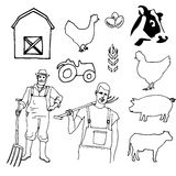 Hand drawn Farm icon set Stock Photo