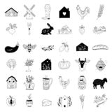 Hand drawn Farm icon set in doodle style royalty free illustration