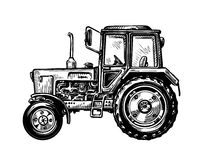Hand-drawn farm truck tractor. Transport sketch vector illustration Royalty Free Stock Photo