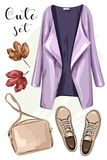 Hand drawn fashion clothes set: coat, bag, shoes. Stylish clothing outfit. Sketch. Stock Image