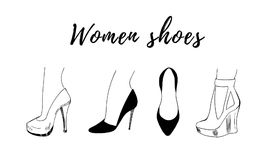 Hand-drawn fashion collection of woman shoe stock illustration