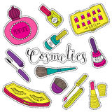 Hand drawn fashion cosmetics. Beauty and makeup set of stickers in cartoon comic style. Stock Images