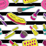Hand drawn fashion cosmetics pattern. Beauty and makeup stickers in cartoon comic style. Stock Image